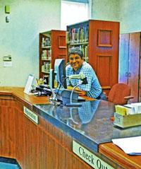 interior main desk Highland Park Public Library New Jersey by Bill Bonner