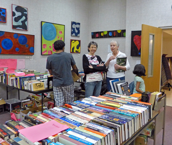 Lois Farrah at book sale - photo by Bill Bonner
