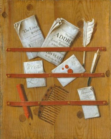 Edward Collier's painting 'Newspapers, Letters and Writing Implements on a Wooden Board'