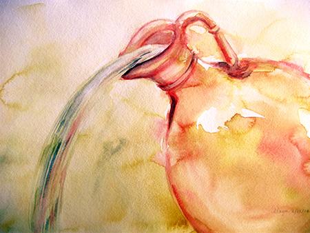Mayu Burr, water jug watercolor