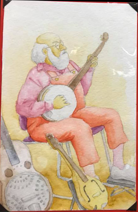 Maya Burr watercolor guitar man