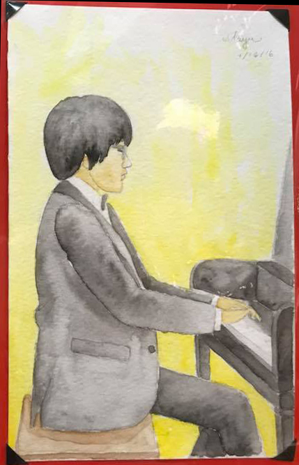 Maya Burr watercolor piano man