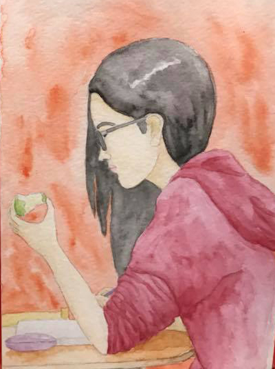 Maya Burr diner girl watercolor